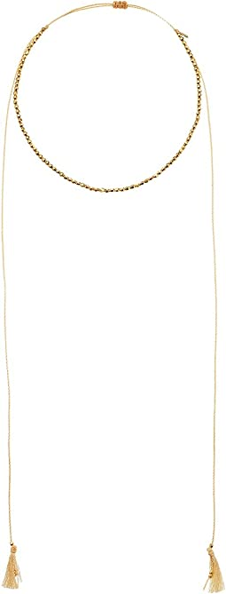 Chan Luu - 18k Gold Plated Sterling Silver Nuggets w/ Adjustable Necklace On Cotton Cord