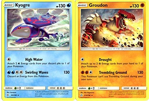 Pokemon Legendary Set - Kyogre 53/236 & Groudon 113/236 - Sun Moon Cosmic Eclipse - Rare - 2 Card Lot