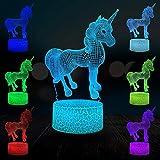 Unicornio de dibujos animados caballo volador luz 3D LED luz nocturna decoración multicolor niños miran lava luz de grieta