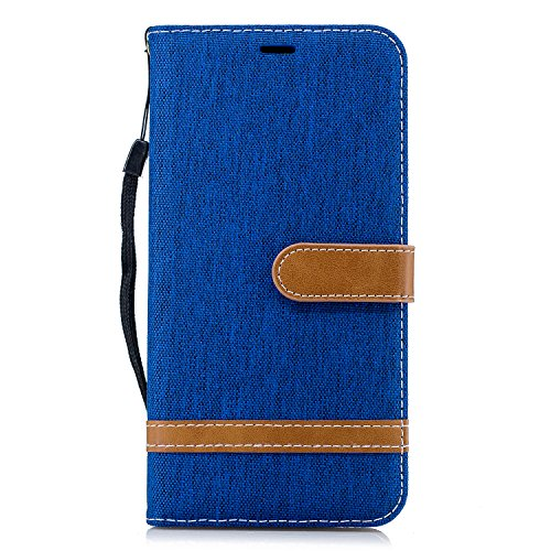 Thoankj Huawei Honor 9X Lite Hülle stoßfest Premium Denim + PU Leder Notebook Wallet Phone Case mit Kickstand Card Holder Slot Slim Flip Folio Schutzhülle für Huawei Honor 9X Lite