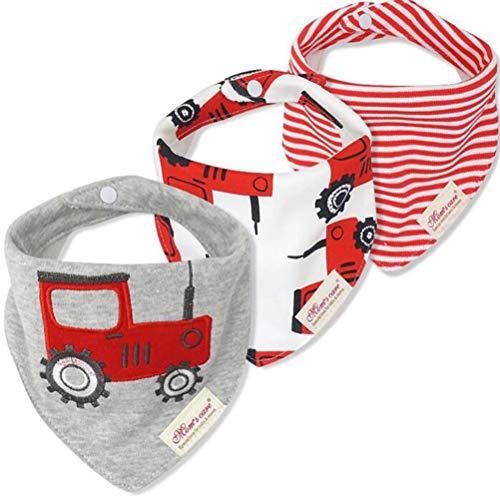 CuteOn Baby Sbavare Bavaglini, Unisex 3-Pezzi Cotone Assorbente, Triangolo Bib Con Snaps Gift for Boys & Girls - Asorted