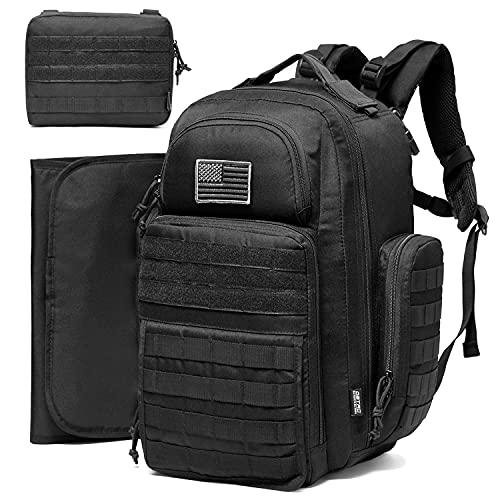 Diaper Bag Backpack for Dad, DBTAC Large Baby Nappy Bag for Men w/Changing Mat, Insulated+Wipe Pockets, Stroller Straps, Black