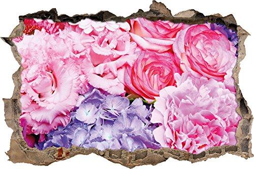 prachtvoller Blumenstrauss Wanddurchbruch im 3D-Look, Wand- oder Türaufkleber Format: 92x62cm, Wandsticker, Wandtattoo, Wanddekoration