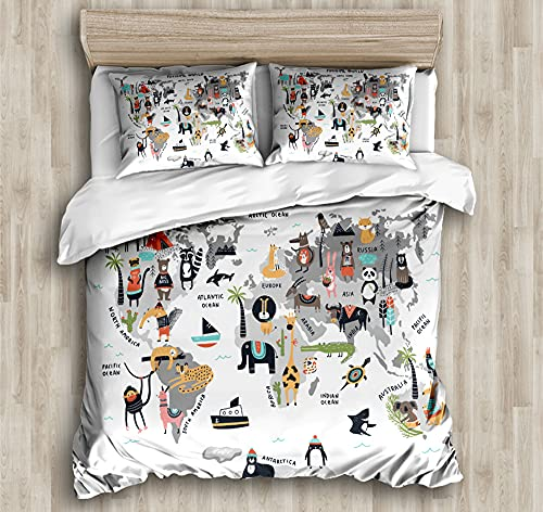 Duvet Cover Bedding,Set Ultra Soft Microfiber Bedding Animal map Printed Quilt Cover with Zipper Closure,220*240cm