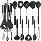 Silicone Kitchen Cooking Utensil Set, EAGMAK 14PCS Stainless Steel Silicone Kitchen Utensils Spatula Set with Stand for Nonstick Cookware, BPA Free Non-Toxic Silicone Cooking Utensils (Black)