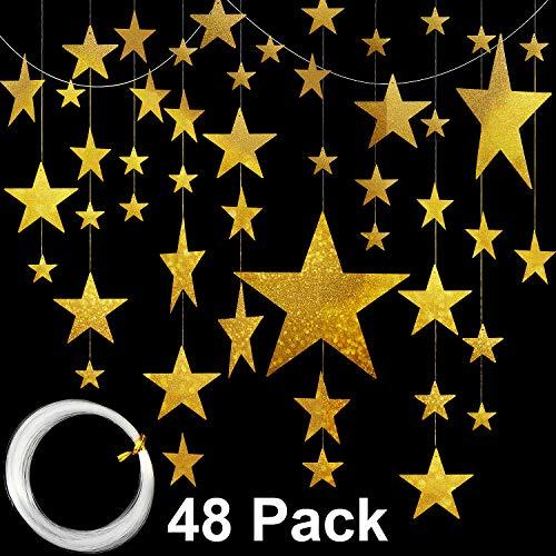 48 Stücke 4 Größen Hängen Gold Stern Ausschnitte Gold Glänzende Fertig Stern 3D Halloween Fledermaus Wand Halloween Hof Party Dekorationen mit 50 mt Nylon Perlen Angelschnur (Stil B, 48 Stücke)