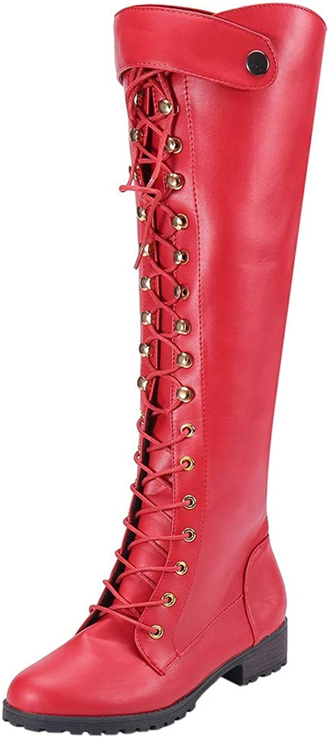 Sinzelimin Women's Lace-up Knee High Combat Stacked Heel Boot Motorcycle Boots Leather Boots Retro Combat shoes