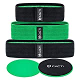 Fabric Resistance Bands & Core Sliders Exercise Set - 3 Booty Bands & 2 Strength Slides for Legs, Butt, Hips, Glutes, Abs, Shoulders & Arms - Non Slip & Non-Rolling (Bands & Sliders)