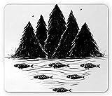 Cojín de ratón Peculiar, Orilla del río con los árboles del Bosque y Peces de la natación Debajo del Campo del mar, tapete de Goma Antideslizante...