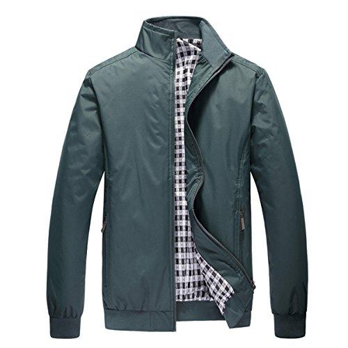 Stunner Men's Spring Casual Mandarin Collar Solid Jacket CN M Green