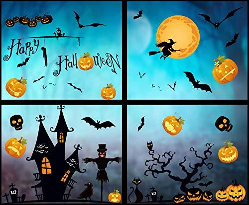 heekpek Halloween Fenster Aufkleber Wandaufkleber Halloween Dekorationen Fledermäuse Schädel Kürbis Aufkleber Selbstklebende abnehmbare Wandtattoos für Halloween Party (8 Blätter)