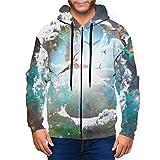 Graphic Galaxy Naked Winged Men Angels Mens Hooded Sweatshirts Zipper Casual Hoodie Jacket Black