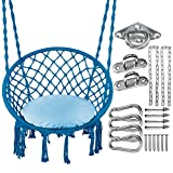 Greenstell Hammock Chair, Max 330 Lbs Macrame Swing with Cushion and Hanging Hardware Kits, Hanging Cotton Rope Swing Chair, Comfortable Hanging Chairs for Indoor, Outdoor, Home, Patio, Yard (Blue)