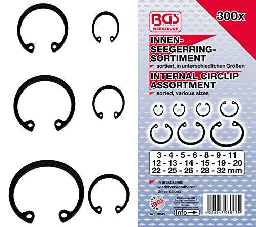 BGS 8049 | Surtido de anillos de seguridad interiores (circlip) | Ø 3 - 32 mm | 300 piezas