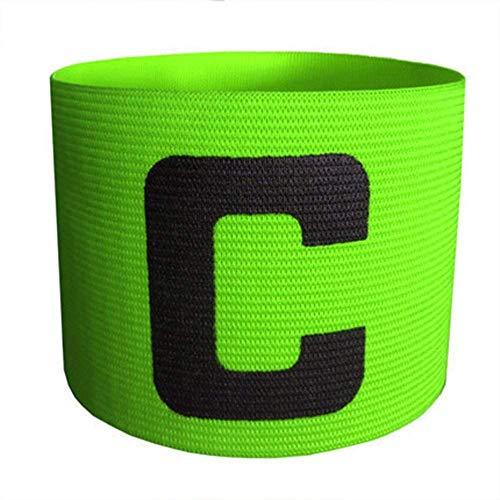Fliyeong - Fascia da braccio per capitano di calcio, elastica, regolabile, design anti-caduta, per adulti e ragazzi, colore verde