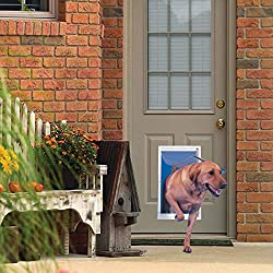 """commercial Ideal pet product Aluminum deluxe pet door with pull-out frame, oversized, 10.5 """"x15"""" flap… bulldog security rs1100"""