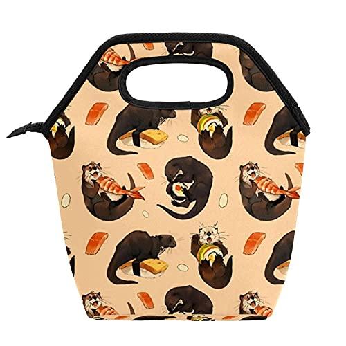 Bolsa de almuerzo portátil Caja de almuerzo de alta capacidad Paquete de comida para trabajo de oficina Viaje escolar Sushi de arena