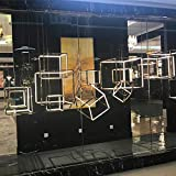 Led Moderno Villa Duplex Diseñador De Acero Inoxidable Cubo De Luz De Acero Inoxidable Personalidad Creativa Nordic Personalidad Cabeza Individual Chandelier-3pcs_300mm 400mm 500mm_Cold