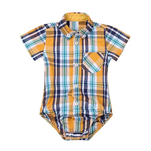 Agoky Baby Jungen Trachten Hemd Karriert Strampler Shirt Tops Kinder Trachtenhemd Kleinkind Overalls Freizeithemd Karohemd 3-24 Monate Gelb 3 Monate