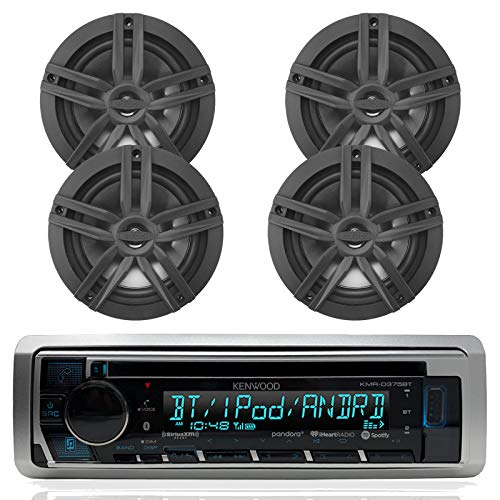 """New Kenwood Outdoor Marine Boat/Car ATV AM/FM Radio CD/MP3 USB iPod iPhone Pandora Stereo Player with 4 New 6.5"""" Inch Black Marine Speakers System - Great Marine Audio Package"""