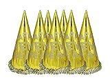 HAAC 6er Set Partyhut Hut Happy New Year mit Glitzern Farbe Gold für Silvester Parties
