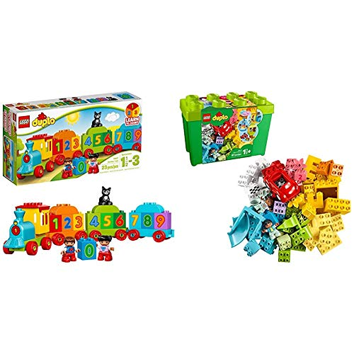LEGO DUPLO My First Number Train 10847 Learning and Counting Train Set Building Kit & LEGO DUPLO Classic Deluxe Brick Box 10914 Starter Set with Storage Box, Great Educational Toy