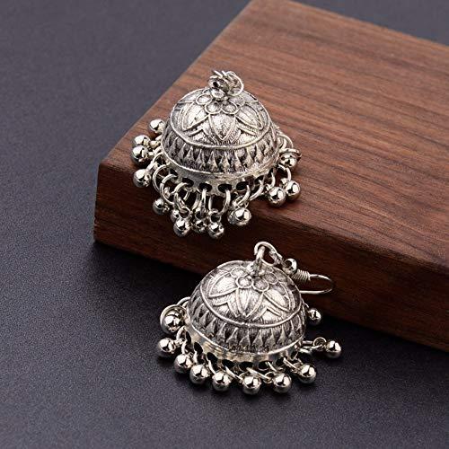 Damen Ohrringe,5 Cm Vintage Antik Gold Indische Handgefertigte Perlen Ohrringe Böhmen Koreanischer Mode Braut Hochzeit Ohr Schmuck Für Damen Mode Personalisierte Ohrschmuck, Große Antike Silber