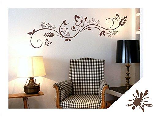 Exklusivpro Wandtattoo Blumen Ranke mit Schmetterlinge für Wohnzimmer Schlafzimmer Flur oder Diele (jap29 braun) 90 x 24 cm mit Farb- u. Größenauswahl