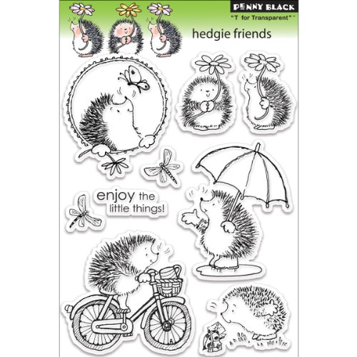 Penny Black 30-101 Hedgie Friends Clear Rubber Stamp Set, 7.5' x 5'