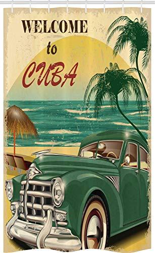 ABAKUHAUS Tropisch Schmaler Duschvorhang, Kuba Beach Ocean Palm, Badezimmer Deko Set aus Stoff mit Haken, 120 x 180 cm, Gelb Teal