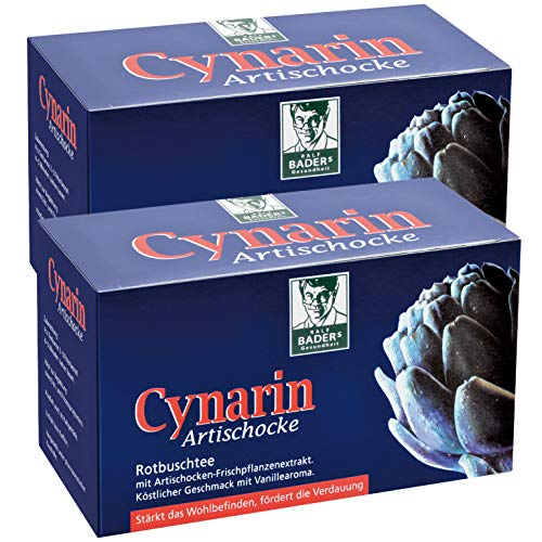 BADERs Cynarin Artischocke Rotbuschtee aus der Apotheke. Mit Artischockenextrakt. Hilfreich bei Fasten, Diät, zur Verdauung. Köstlicher Geschmack nach Vanille. 2 x 20 Btl.
