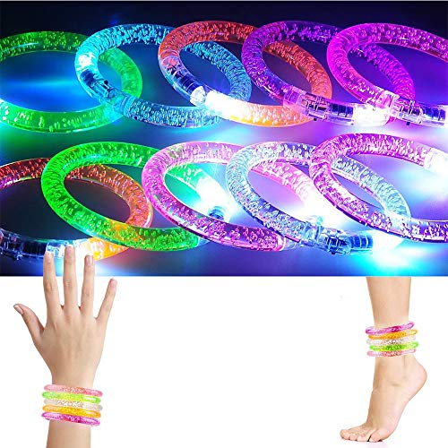 2win2buy [10 Pack] Battery Powered LED Flash Bracelet Glow in Dark Colorful Light-up Rave Wristband
