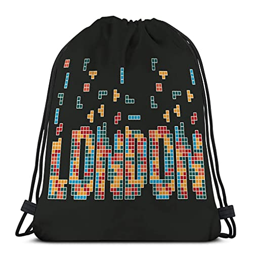 XCNGG Mochila con cordón Bolsa Ligera Gimnasio Viaje Yoga Casual Snackpack Bolsa de hombro para senderismo Natación Gráficos tipografía de la ciudad de Londres emblema deportivo