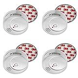 SEBSON 10 Jahres Rauchwarnmelder inkl. Magnethalterung, DIN EN 14604 Zertifiziert, fotoelektrischer Rauchmelder, Lithium Langzeit Batterie, 4er Pack