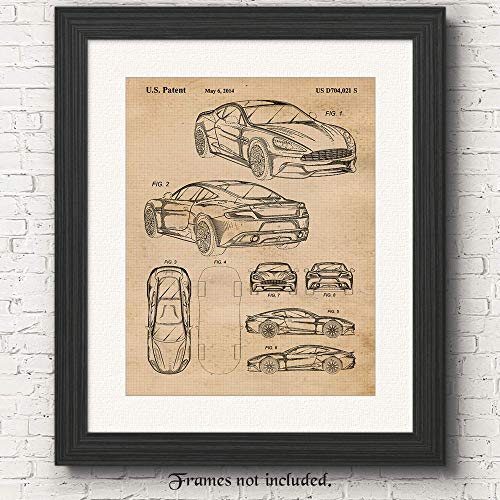 Vintage Aston Martin Vanquish Patent Poster Prints, Set of 1 (11x14) Unframed Photo, Wall Art Decor Gifts Under 15 for Home, Office, Man Cave, College Student, Teacher, England Cars & Coffee Fan