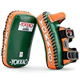 YOKKAO Leather Curved Muay Thai Kicking Pads for Muay Thai Kickboxing MMA