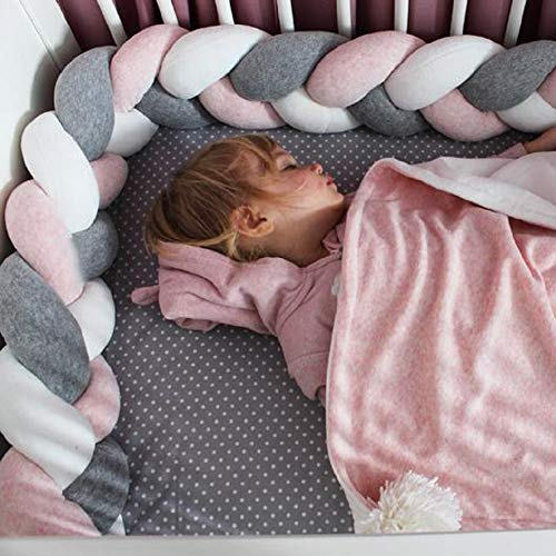 Baby Crib Bumper Knotted Braided Plush Nursery Cradle Decor Newborn Gift Pillow Cushion Junior Bed Sleep Bumper for Toddlers(157 Inch/4M, Gray+White+Pink)