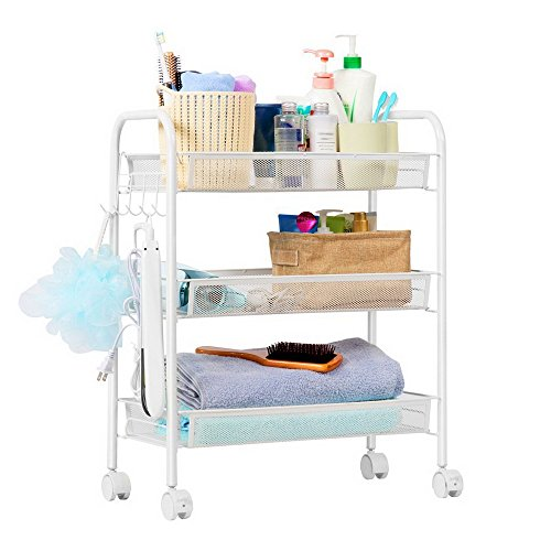 Slide Out Tower Storage Trolley,White Plastic Bathroom Rack Kitchen Storage Shelf Spice Shelving Unit with Hook, Honeycomb Net Multi-Layer Moving Wall Cabinets Storage Cart
