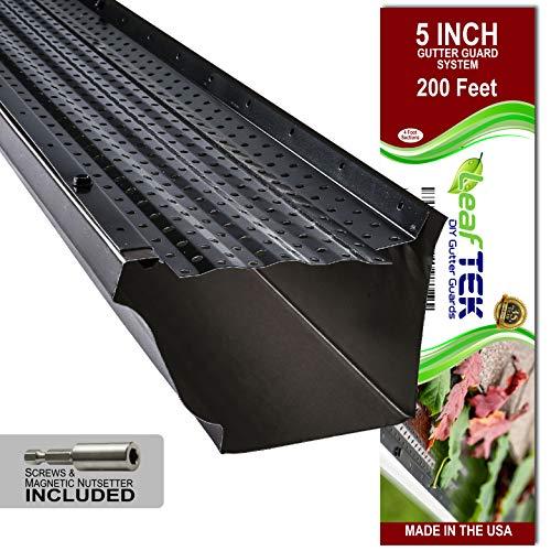 LeafTek 5' x 200' Gutter Guard Leaf Protection in Black | DIY Premium Contractor...