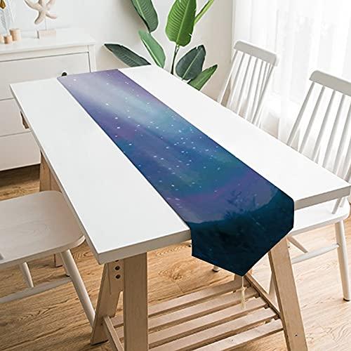 Free Brand Camino de mesa de 200,7 x 33 cm, falda de Aurora Boreal, paisaje de la naturaleza, decoración de mesa para boda, diseño de mantel, decoraciones al aire libre picnics mesa de comedor