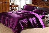 N&W 4Pc Silk Solid Purple Full Queen King Duvet Cover Bed Set Silk Bedding Sets Double Single Duvet Cover(King 220 * 240Cm)