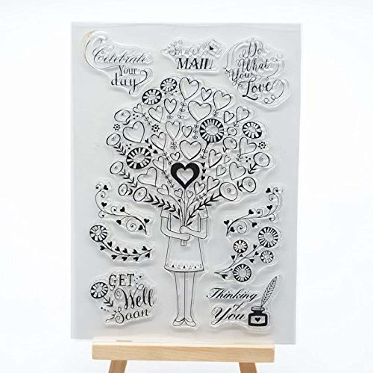 Welcome to Joyful Home 1pc Heart Girl Clear Stamp for Card Making Decoration and Scrapbooking