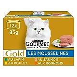 GOURMET Gold - Les Mousselines : Poulet, Saumon, Rognons, Lapin - 12x85g - Lot de 8 (96 boites)