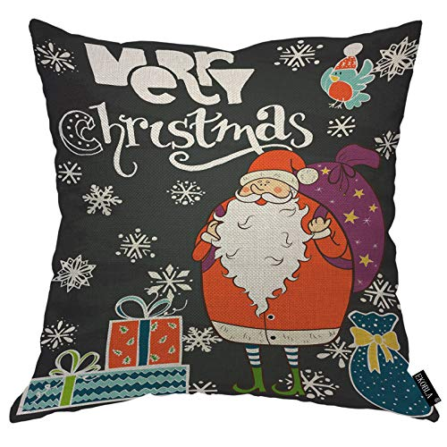 EKOBLA Santa Claus Throw Pillow Covers Snowy Chalkboard Funny Cartoon Bird Snowflake Hand-Drawn Graphic Decorative Square Cushion Case for Merry Christmas Home Decor Cotton Linen 18x18 Inch
