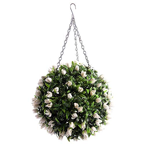 Warmiehomy Artificial Tulip Hanging Topiary Ball Outdoor Trailing Fake Flower Ball (White, 30CM)