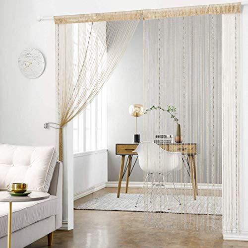 WEIXINHAI Fadenvorhang Fadengardine Vorhang Perlenvorhang - 2 Sätze Tür Perlen Vorhänge 100 x 200 cm Raumteiler Anti-Moskito