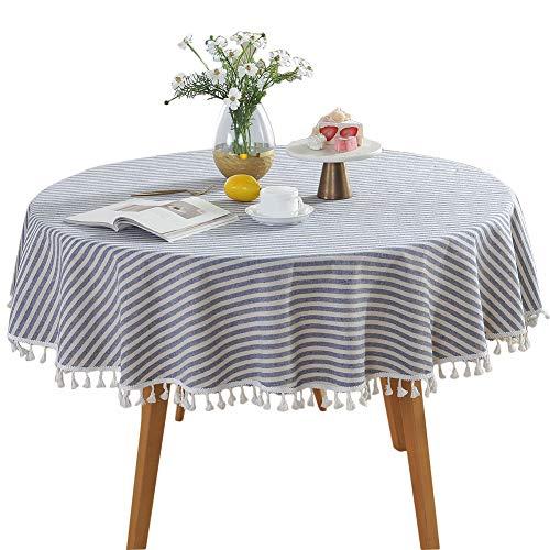 Mantel de algodón con funda de lino, diseño de rayas, redondo, para salón, antipolvo, para cocina, camino o mesa decorativa.