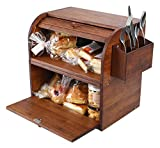 TQVAI Natural Bamboo 2 Layer Bread Storage Box Food Can Rack Organizer - Detachable Design, Can Use as 2 Individual Bread Bin - Assembly Required, Retro Brown