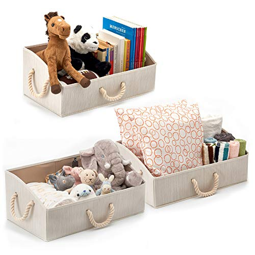 Set of 3 Large Nursery Storage Bins EZOWare Foldable Fabric Trapezoid Organizer Boxes with Cotton Rope Handle, Collapsible Basket for Shelves, Closet, Baby Toys, Diaper - Beige