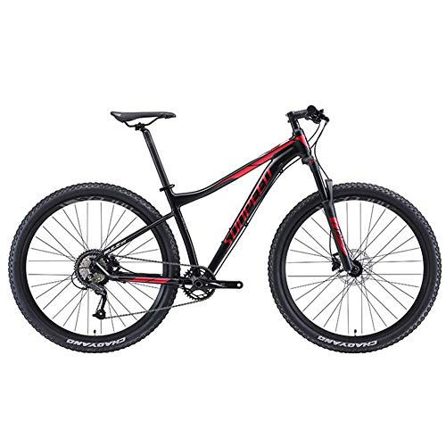 DJYD 9-Speed-Mountainbikes, Erwachsene Big Wheels Hardtail Mountainbike, Alurahmen Front Suspension Fahrrad, Mountain Trail Bike, Schwarz FDWFN